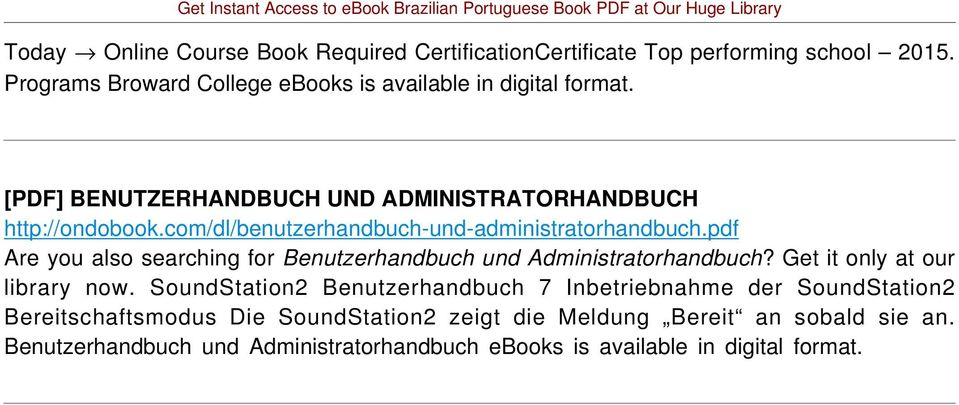 pdf Are you also searching for Benutzerhandbuch und Administratorhandbuch? Get it only at our library now.