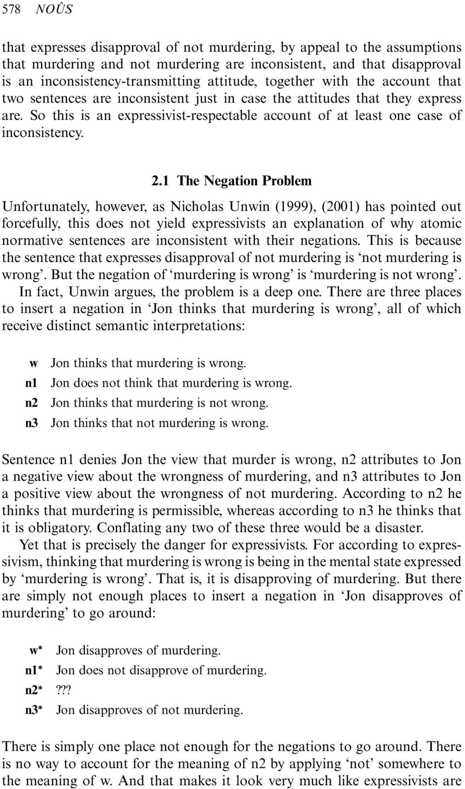 1 The Negation Problem Unfortunately, however, as Nicholas Unwin (1999), (2001) has pointed out forcefully, this does not yield expressivists an explanation of why atomic normative sentences are