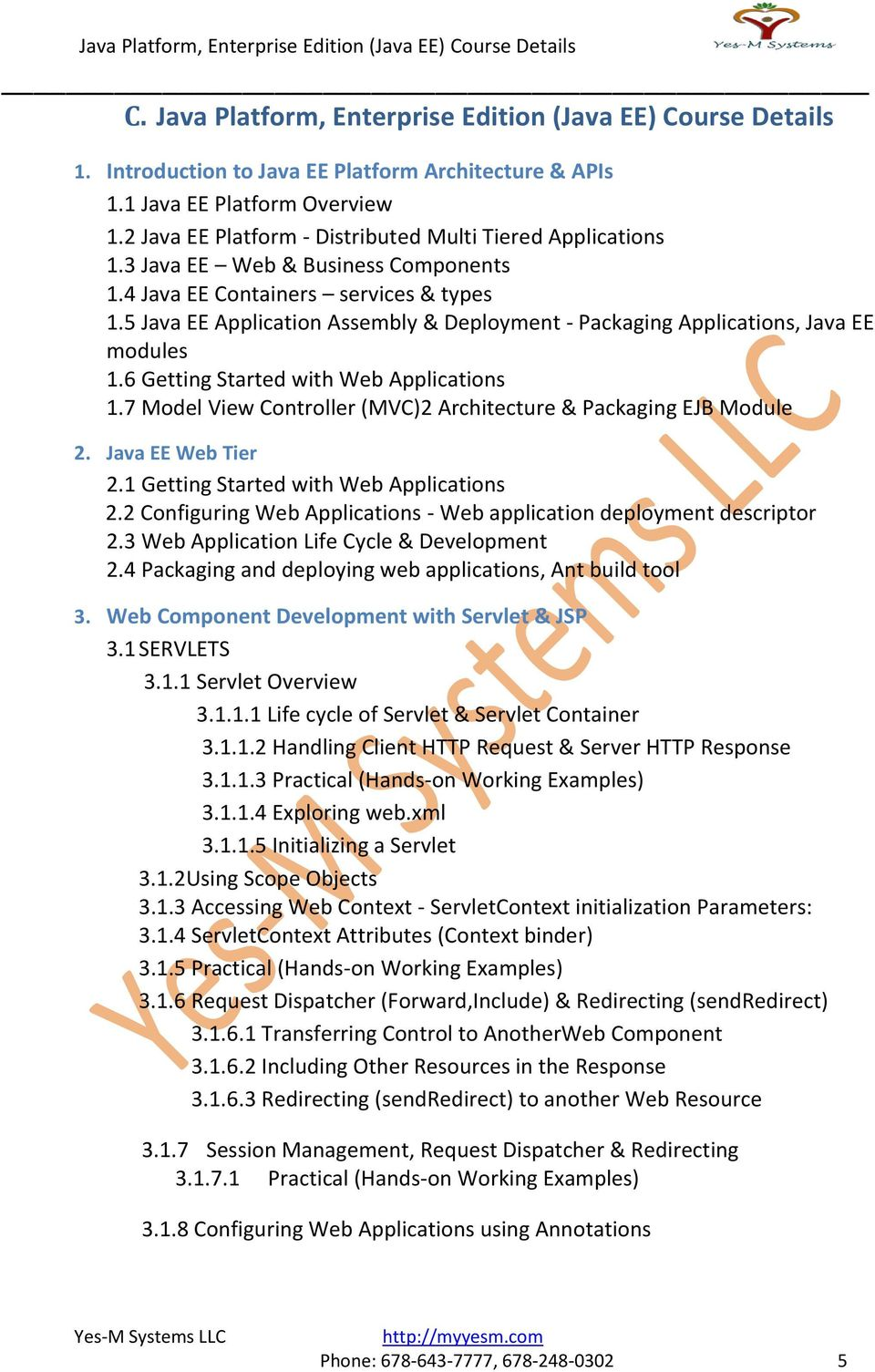 5 Java EE Application Assembly & Deployment - Packaging Applications, Java EE modules 1.6 Getting Started with Web Applications 1.7 Model View Controller (MVC)2 Architecture & Packaging EJB Module 2.