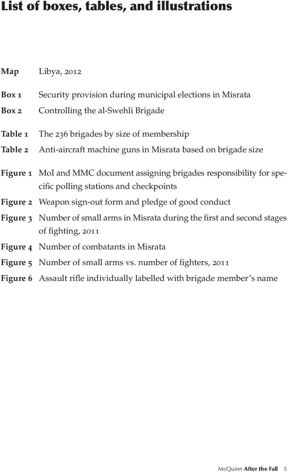 stations and checkpoints Figure 2 Weapon sign-out form and pledge of good conduct Figure 3 Number of small arms in Misrata during the first and second stages of fighting, 2011 Figure