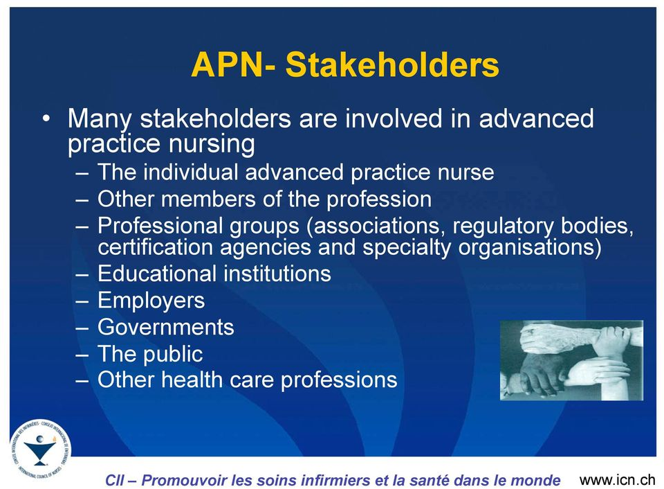groups (associations, regulatory bodies, certification agencies and specialty