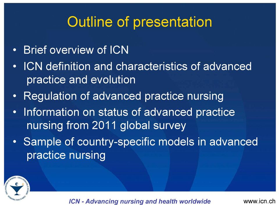 on status of advanced practice nursing from 2011 global survey Sample of