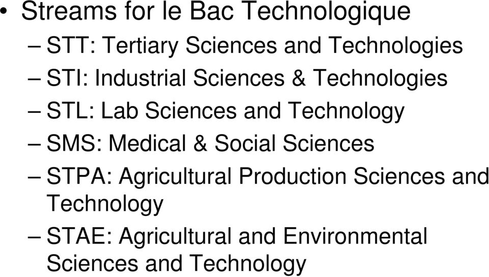 SMS: Medical & Social Sciences STPA: Agricultural Production Sciences