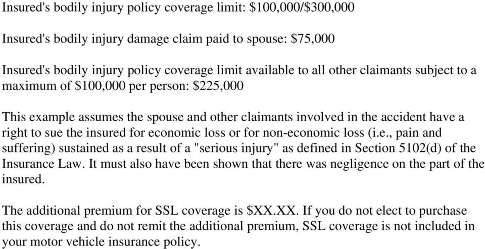 "non-economic loss (i.e., pain and suffering) sustained as a result of a ""serious injury"" as defined in Section 5102(d) of the Insurance Law."