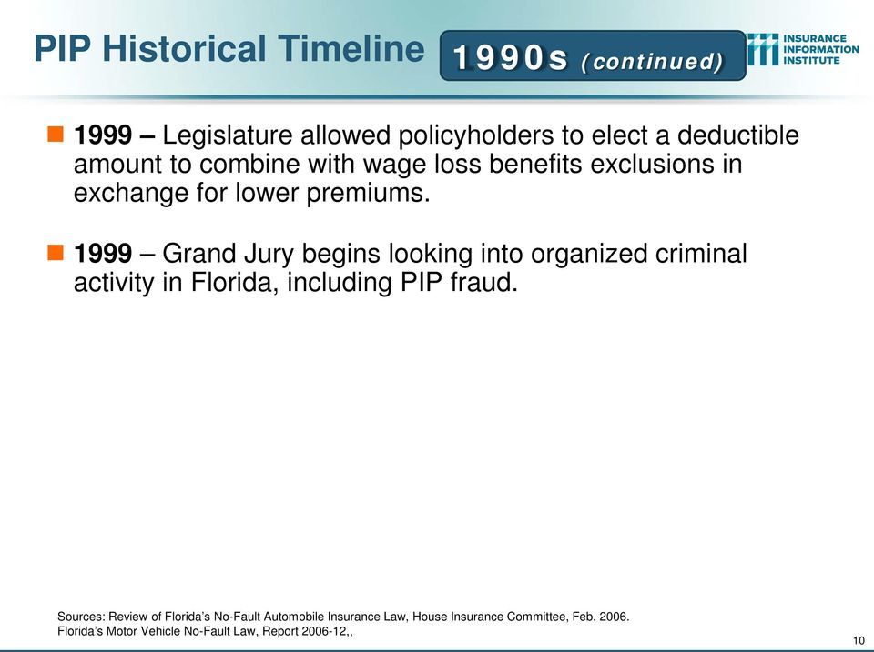 1999 Grand Jury begins looking into organized criminal activity in Florida, including PIP fraud.