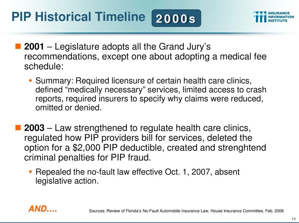 2003 Law strengthened to regulate health care clinics, regulated how PIP providers bill for services, deleted the option for a $2,000 PIP deductible, created and strenghtend criminal
