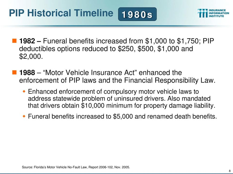 Enhanced enforcement of compulsory motor vehicle laws to address statewide problem of uninsured drivers.