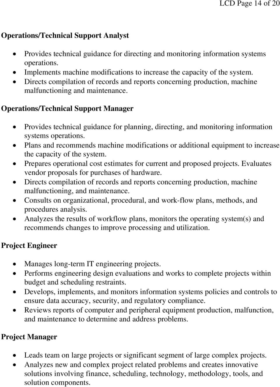 Operations/Technical Support Manager Provides technical guidance for planning, directing, and monitoring information systems operations.