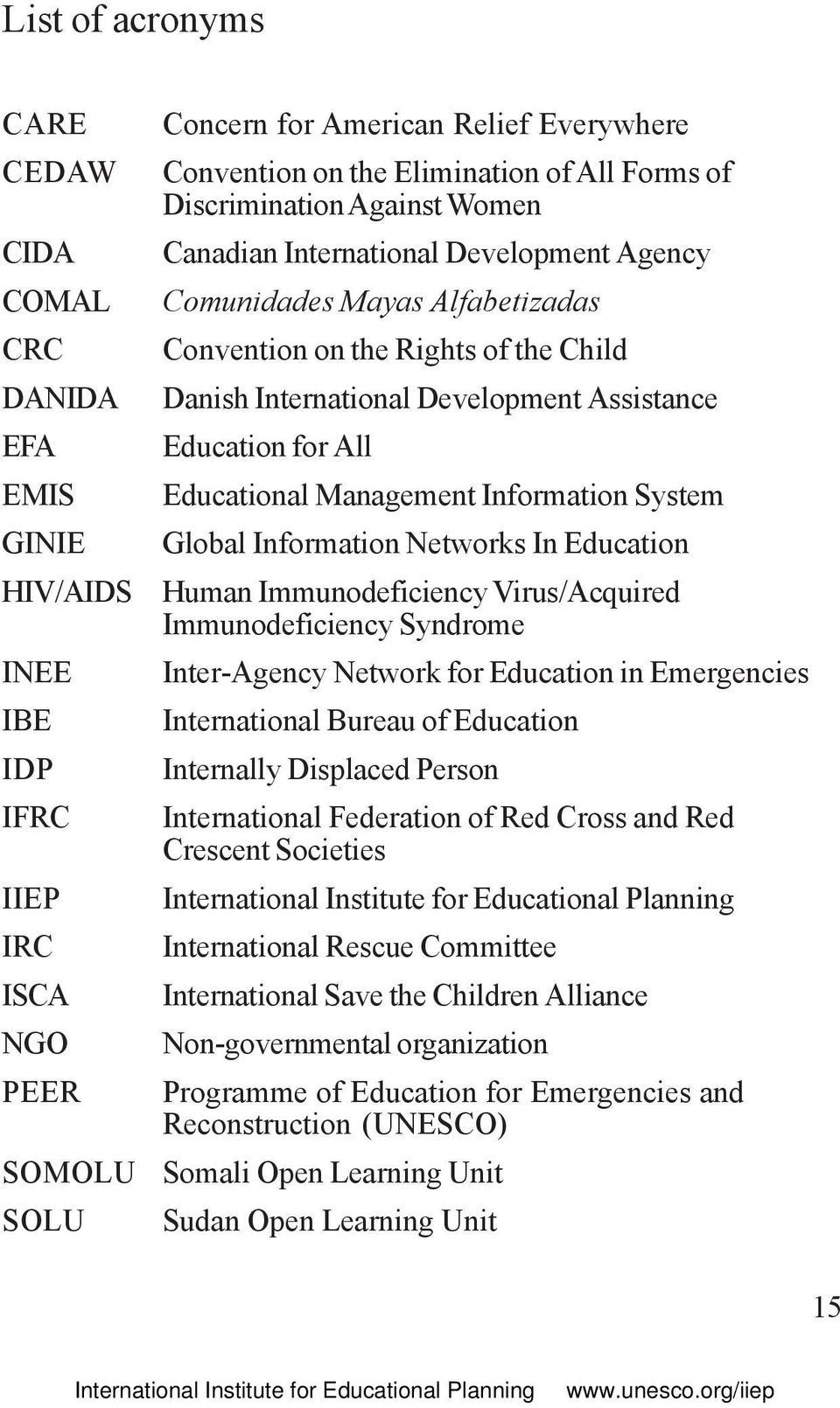 Education for All Educational Management Information System Global Information Networks In Education Human Immunodeficiency Virus/Acquired Immunodeficiency Syndrome Inter-Agency Network for Education