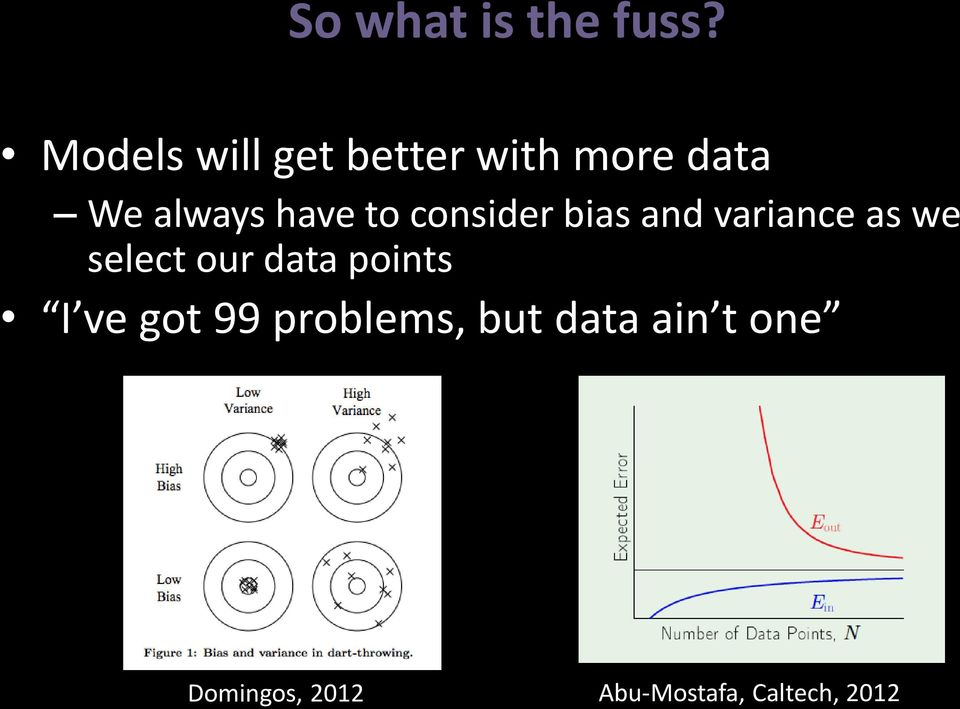 to consider bias and variance as we select our data