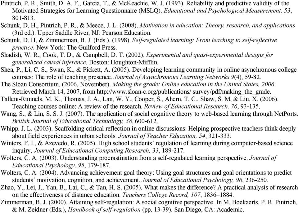 Schunk, D. H, & Zimmerman, B. J. (Eds.). (1998). Self-regulated learning: From teaching to self-reflective practice. New York: The Guilford Press. Shadish, W. R., Cook, T. D., & Campbell, D. T. (2002).