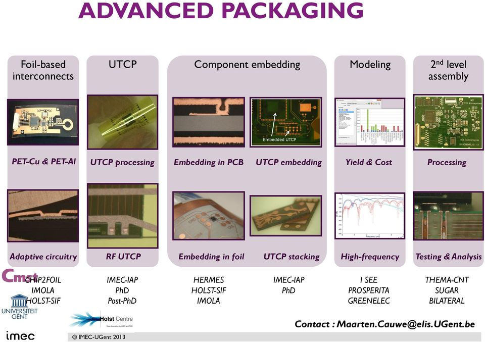 foil UTCP stacking High-frequency Testing & Analysis CHIP2FOIL IMOLA HOLST-SIF IMEC-IAP PhD Post-PhD HERMES