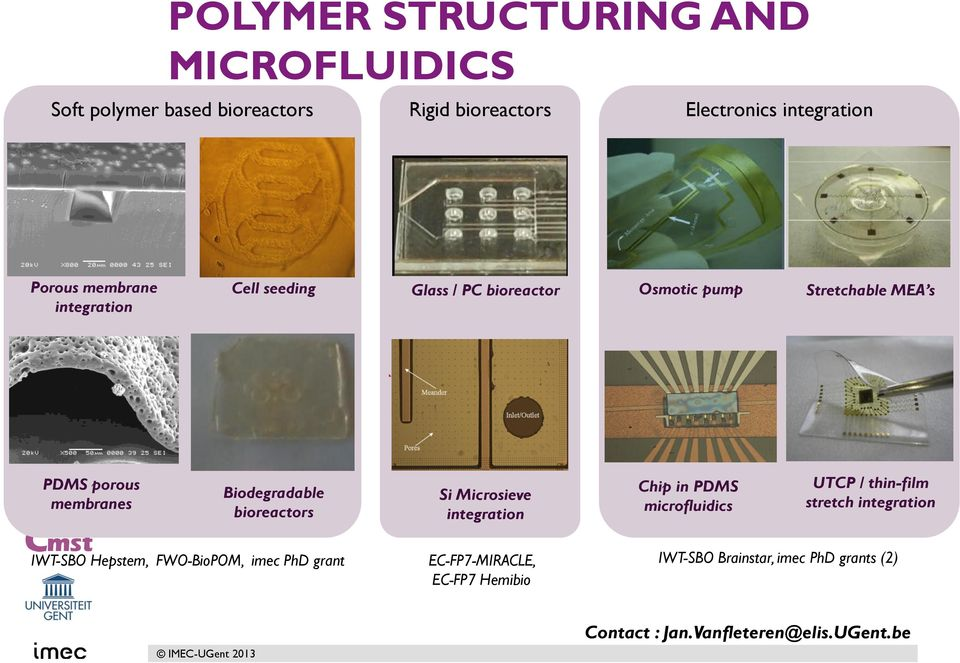 bioreactors Si Microsieve integration Chip in PDMS microfluidics UTCP / thin-film stretch integration IWT-SBO Hepstem,
