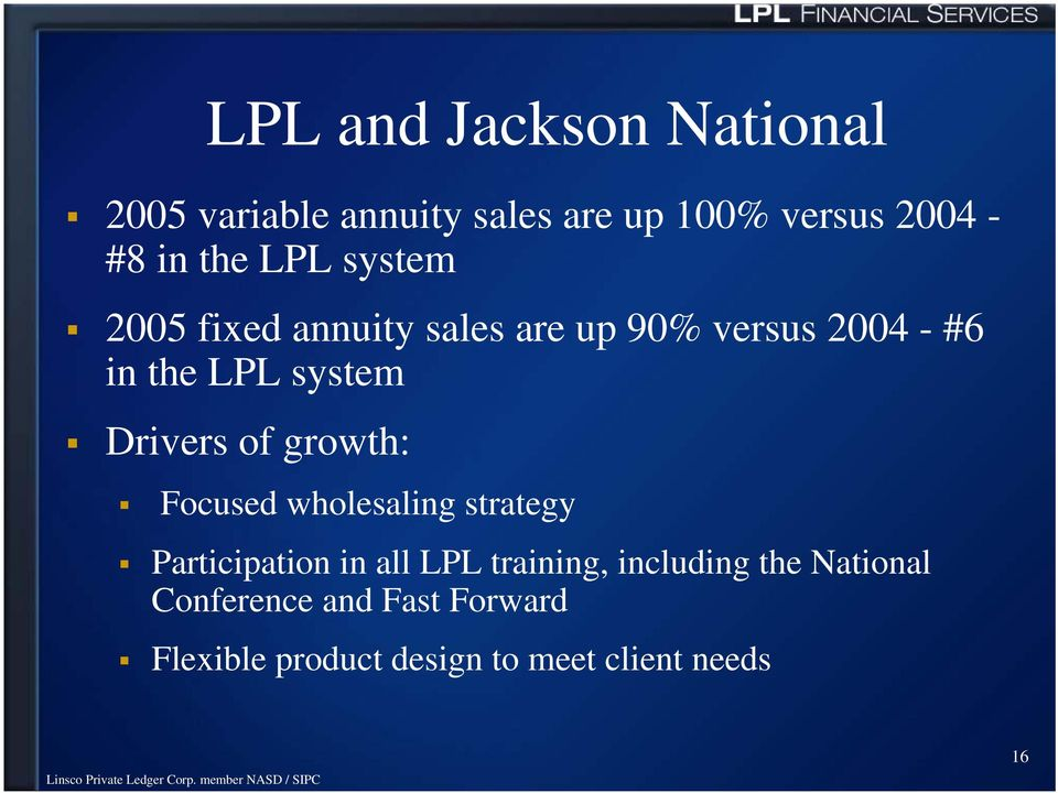 Drivers of growth: Focused wholesaling strategy Participation in all LPL training,
