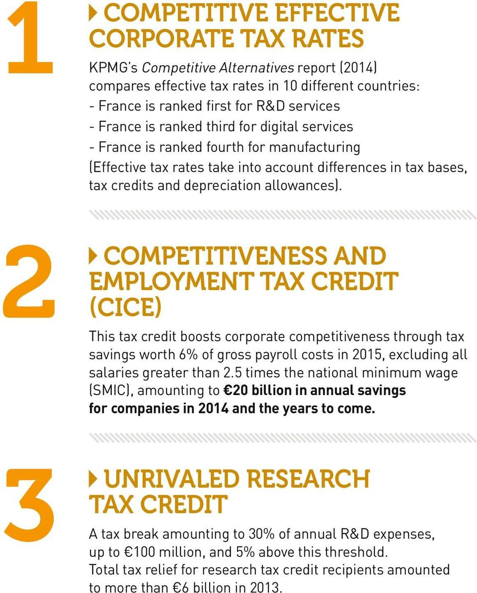 2 3 COMPETITIVENESS AND EMPLOYMENT TAX CREDIT (CICE) This tax credit boosts corporate competitiveness through tax savings worth 6% of gross payroll costs in 2015, excluding all salaries greater than