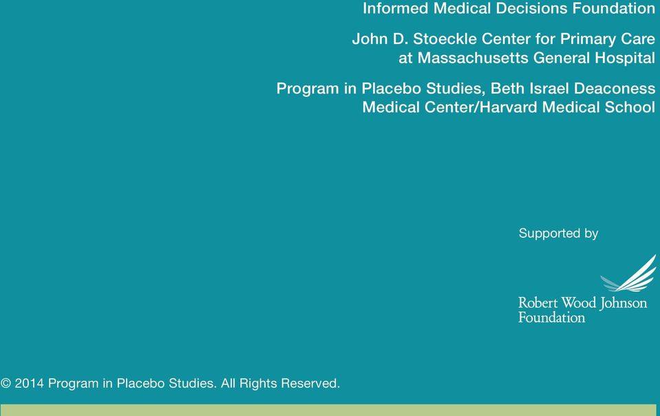 Program in Placebo Studies, Beth Israel Deaconess Medical