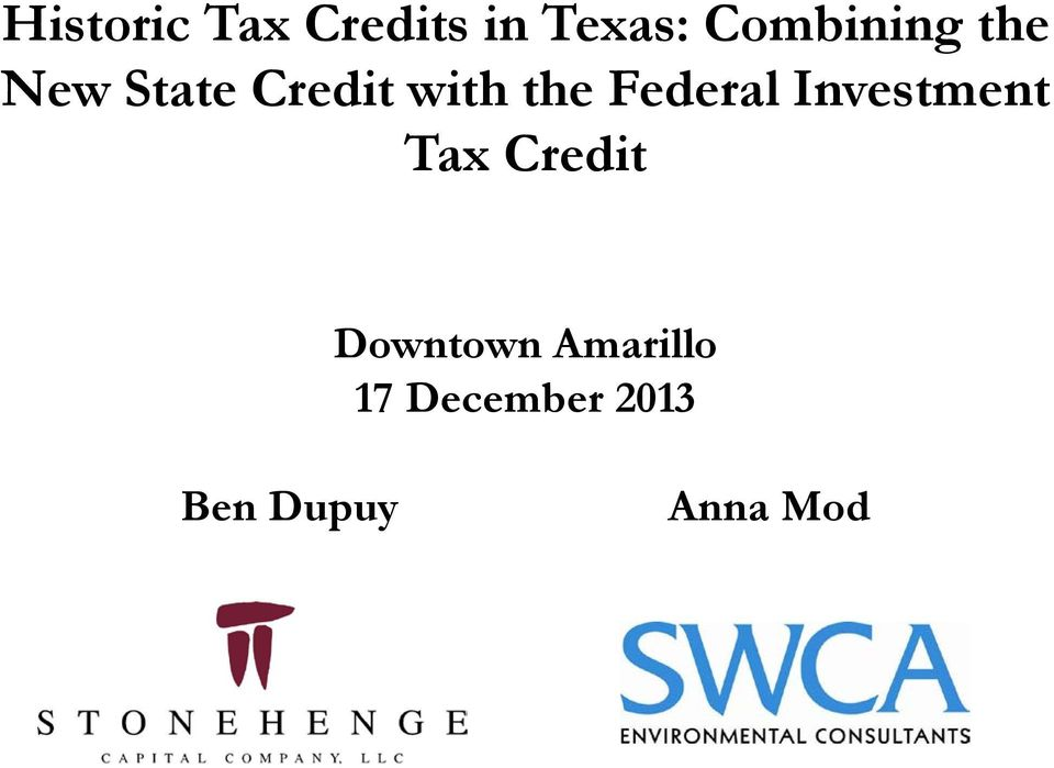 the Federal Investment Tax Credit