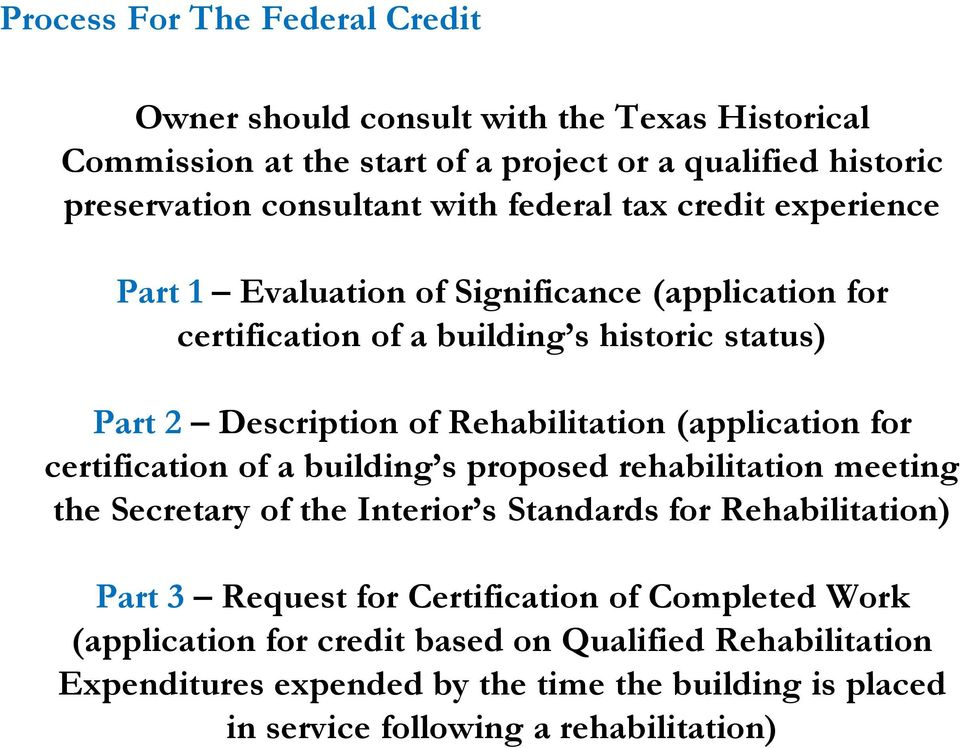 (application for certification of a building s proposed rehabilitation meeting the Secretary of the Interior s Standards for Rehabilitation) Part 3 Request for