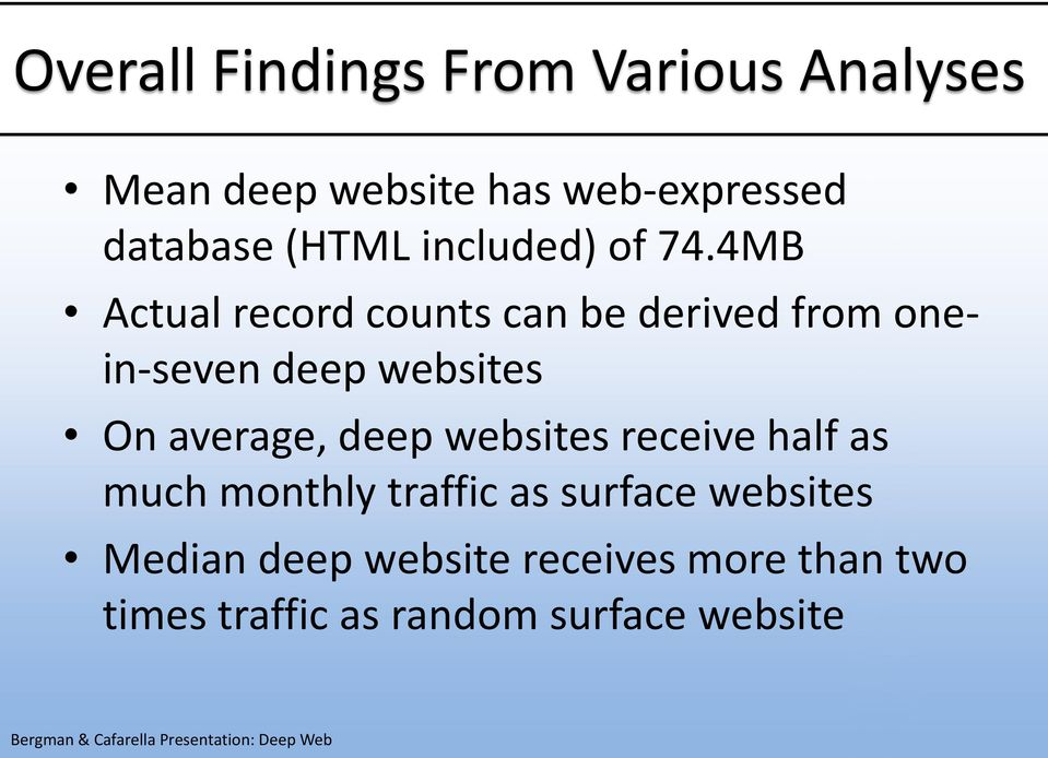 4MB Actual record counts can be derived from onein-seven deep websites On average,