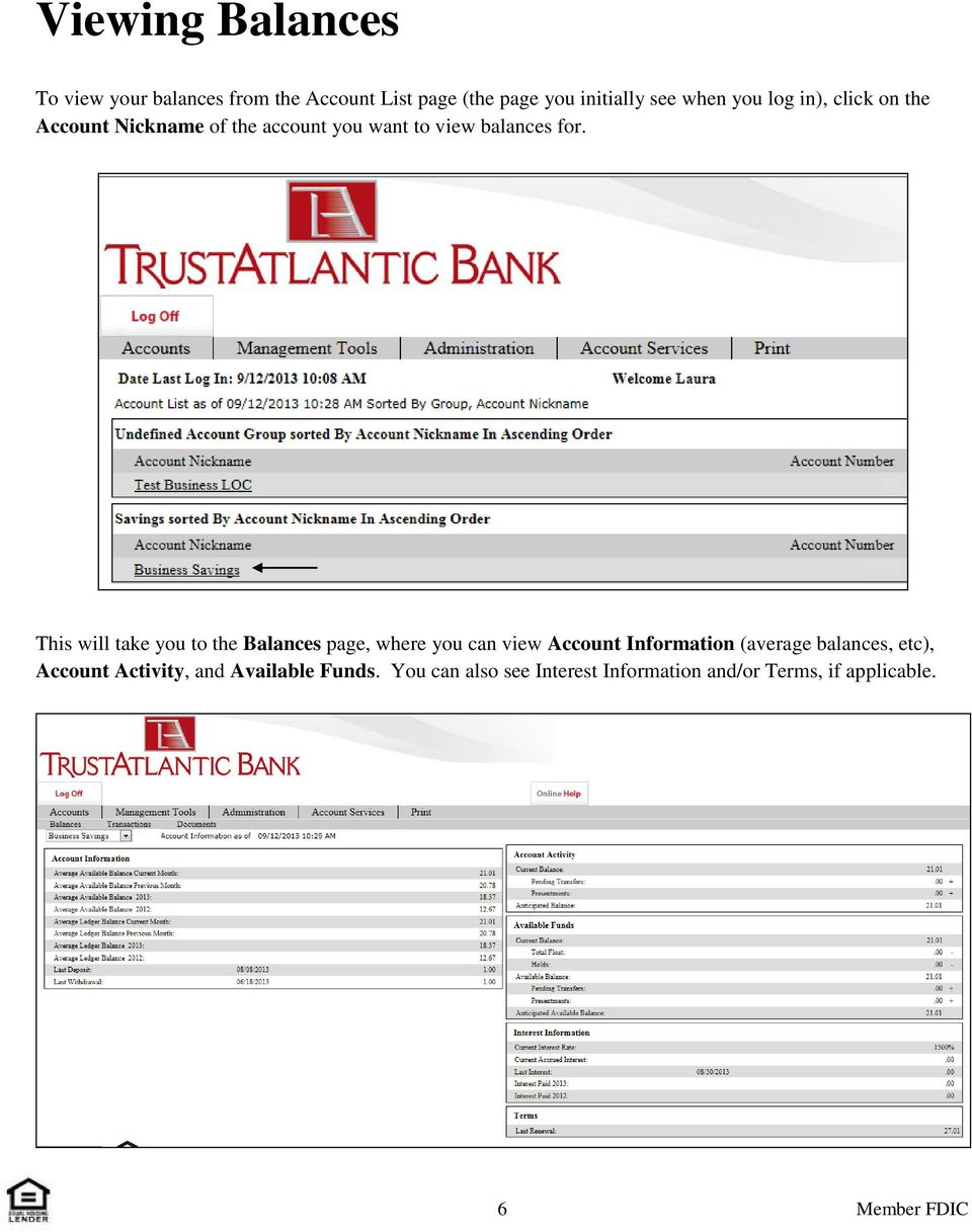 This will take you to the Balances page, where you can view Account Information (average balances,