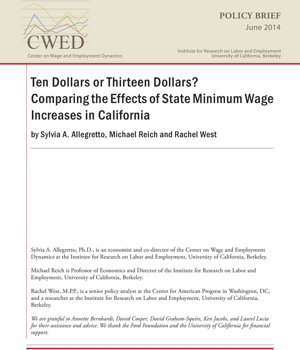 , is an economist and co-director of the Center on Wage and Employment Dynamics at the Institute for Research on Labor and Employment, University of California, Berkeley.