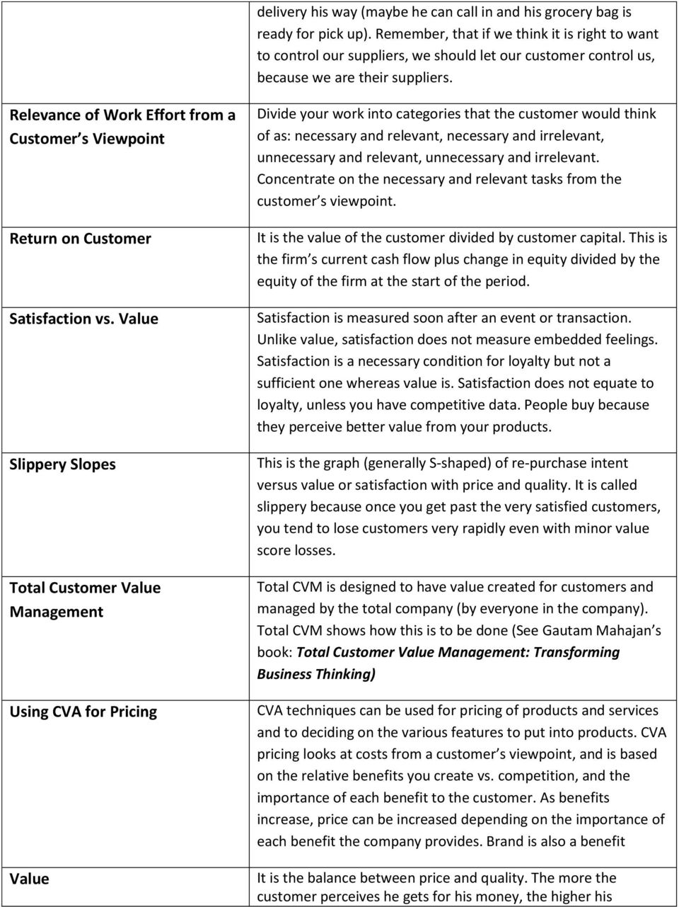 Relevance of Work Effort from a Customer s Viewpoint Return on Customer Satisfaction vs.