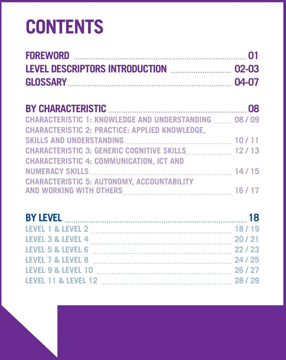 4: COMMUNICATION, ICT AND NUMERACY SKILLS 14 / 15 CHARACTERISTIC 5: AUTONOMY, ACCOUNTABILITY AND WORKING WITH OTHERS 16 / 17 BY LEVEL 18 LEVEL 1 &