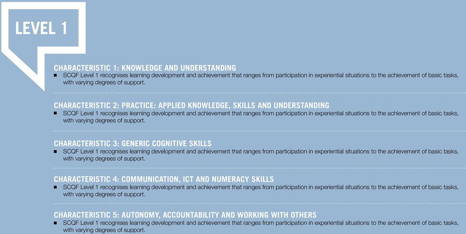 CHARACTERISTIC 2: PRACTICE: APPLIED KNOWLEDGE, SKILLS AND UNDERSTANDING SCQF Level 1 recognises learning development and achievement that ranges from participation in experiential situations to the