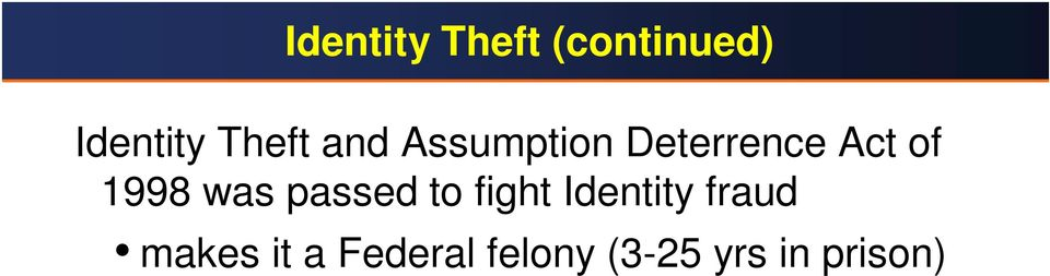1998 was passed to fight Identity fraud
