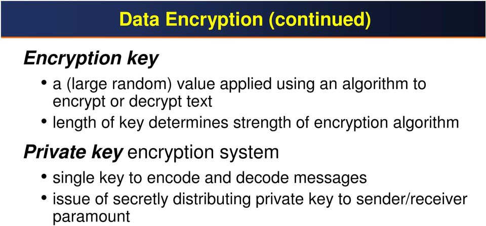 encryption algorithm Private key encryption system single key to encode and