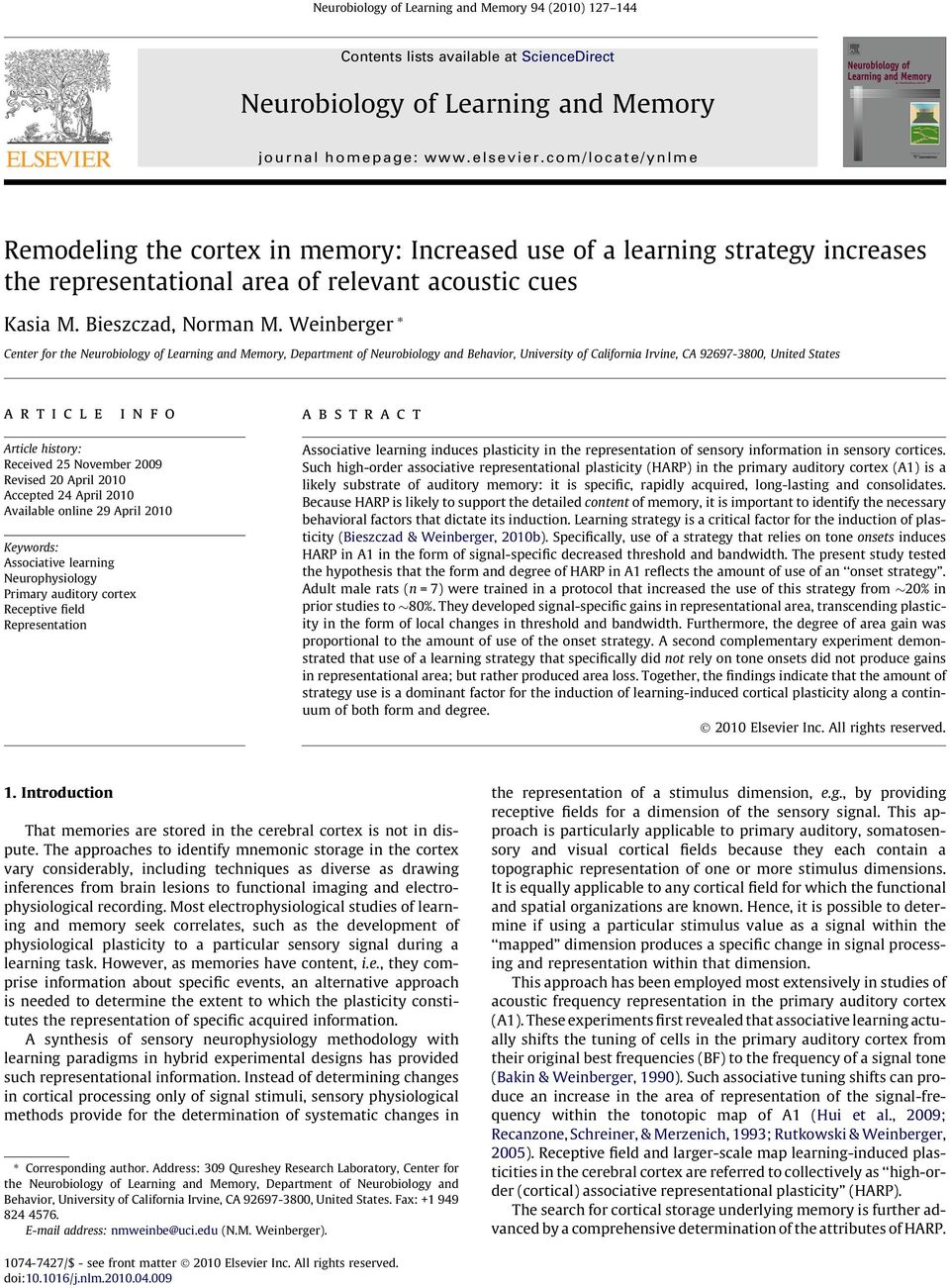 Weinberger * Center for the Neurobiology of Learning and Memory, Department of Neurobiology and Behavior, University of California Irvine, CA 92697-3800, United States article info abstract Article