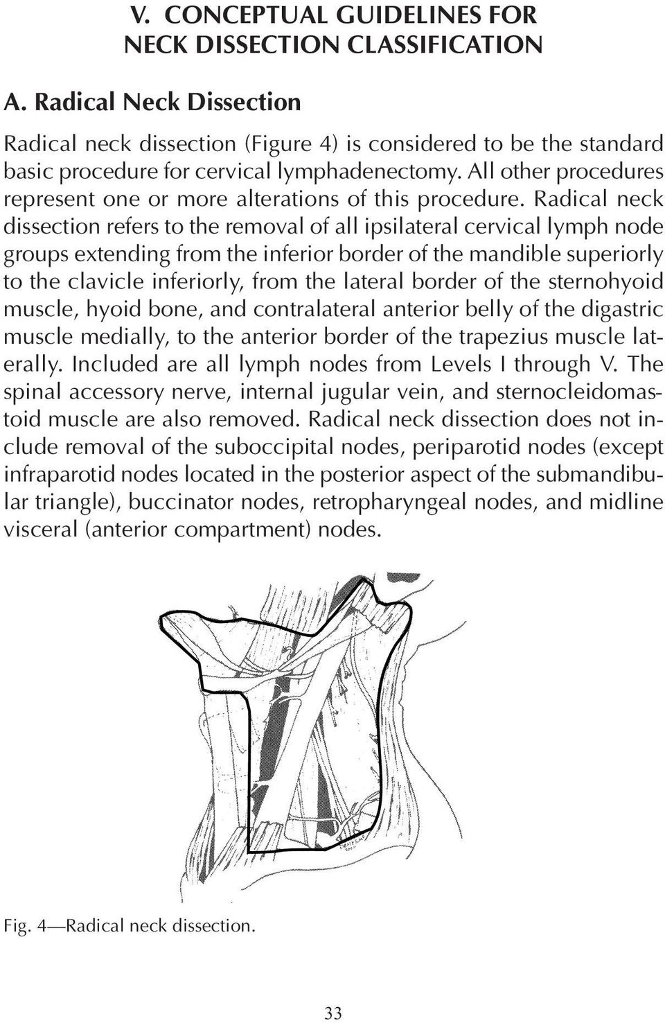 Radical neck dissection refers to the removal of all ipsilateral cervical lymph node groups extending from the inferior border of the mandible superiorly to the clavicle inferiorly, from the lateral