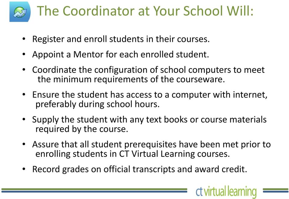 Ensure the student has access to a computer with internet, preferably during school hours.