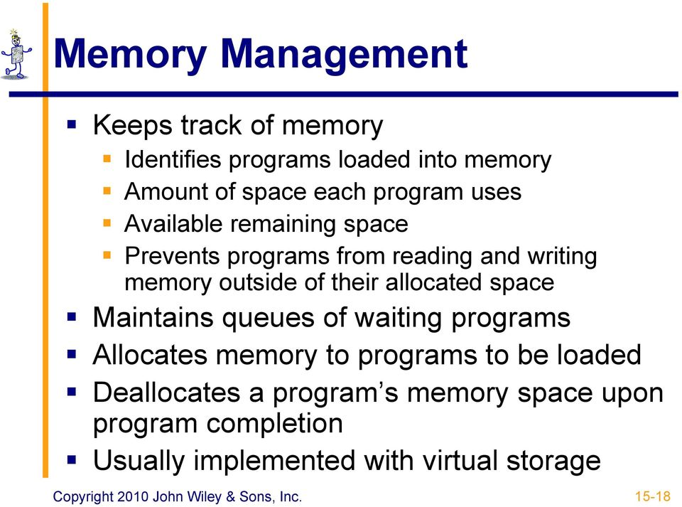their allocated space Maintains queues of waiting programs Allocates memory to programs to be loaded