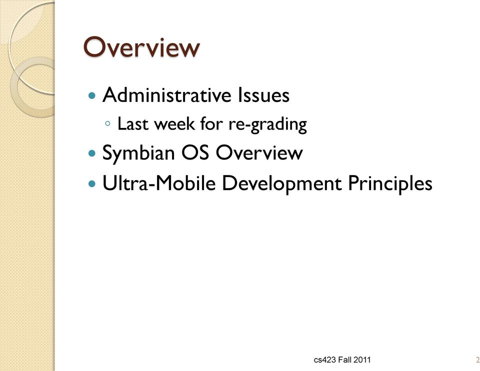 OS Overview Ultra-Mobile
