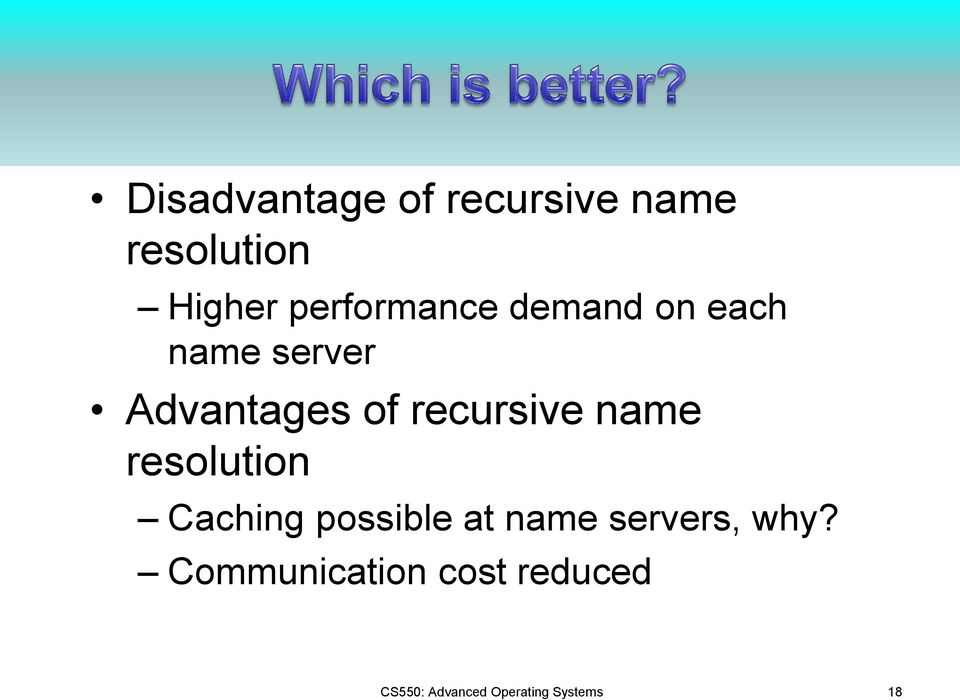 recursive name resolution Caching possible at name