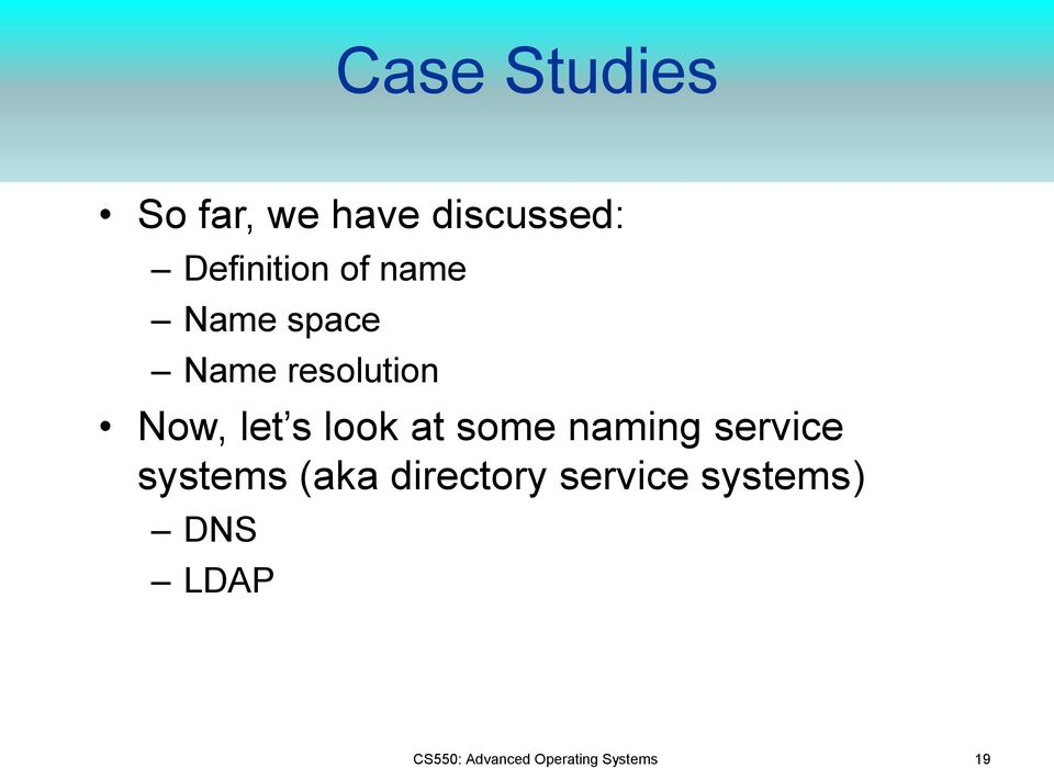 at some naming service systems (aka directory