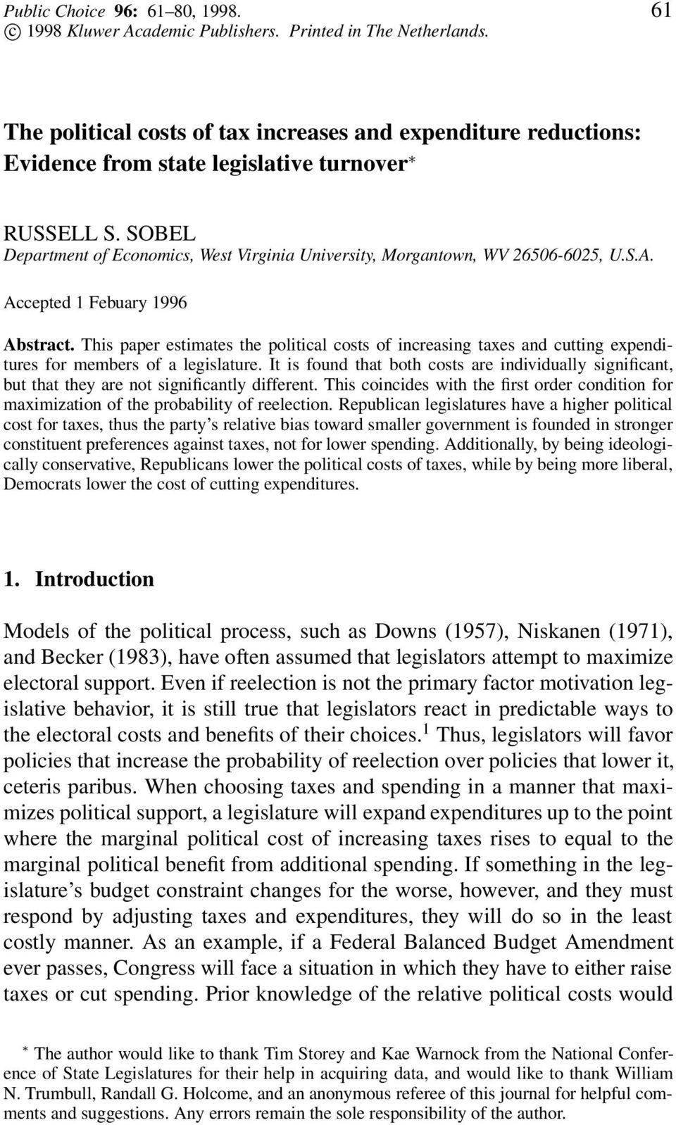 SOBEL Department of Economics, West Virginia University, Morgantown, WV 26506-6025, U.S.A. Accepted 1 Febuary 1996 Abstract.
