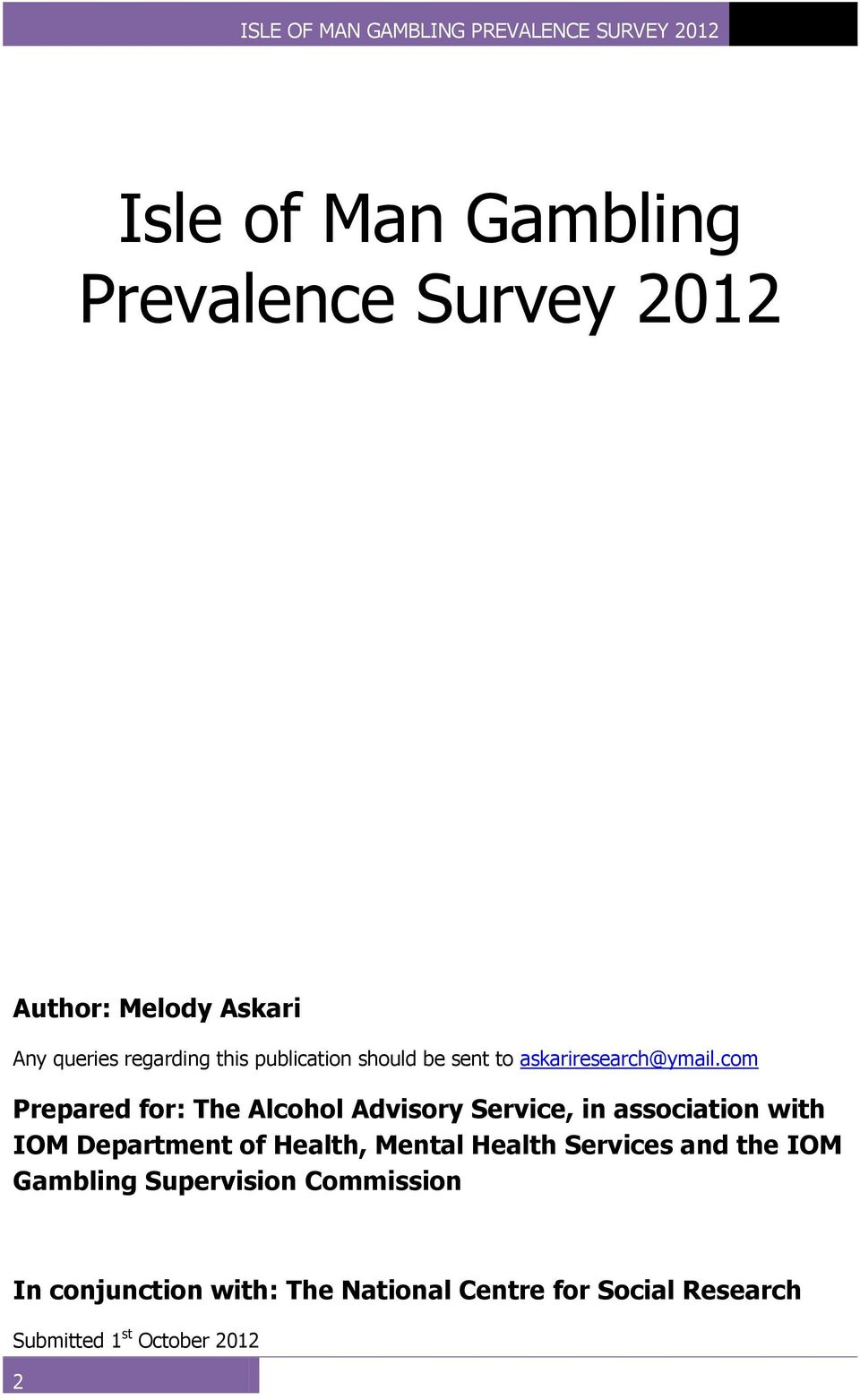 com Prepared for: The Alcohol Advisory Service, in association with IOM Department of Health,