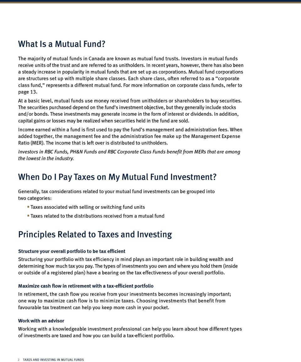 Mutual fund corporations are structures set up with multiple share classes. Each share class, often referred to as a corporate class fund, represents a different mutual fund.