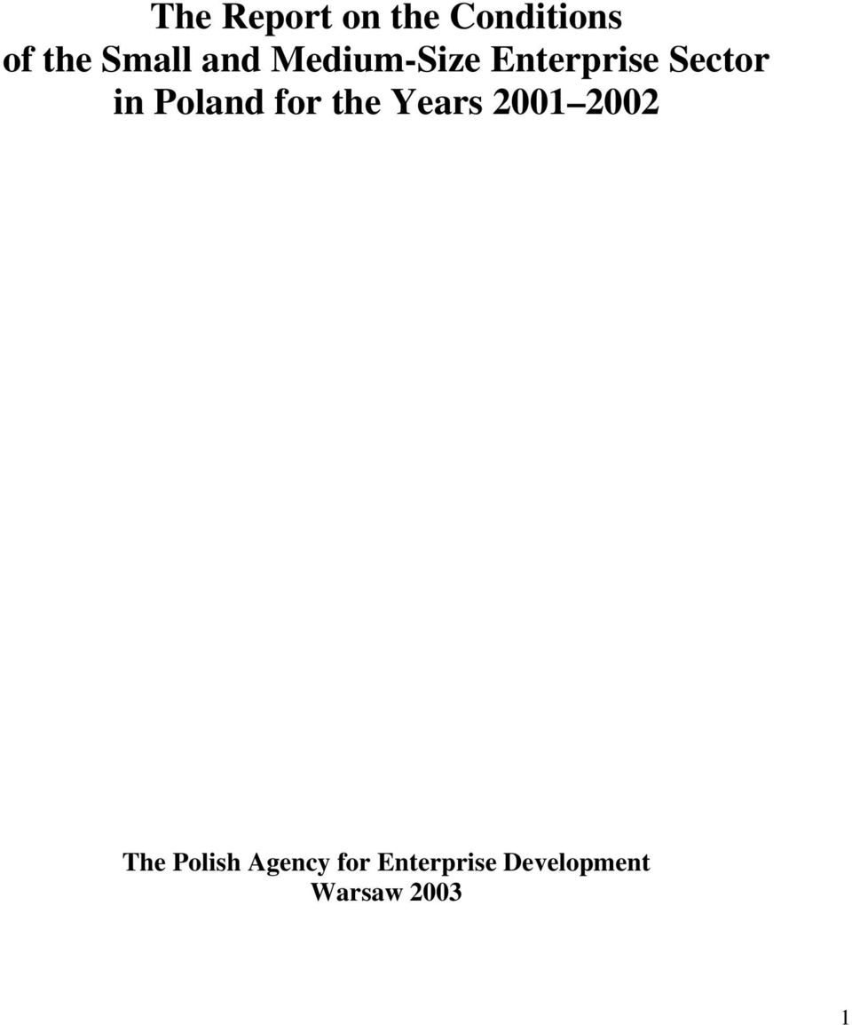 Poland for the Years 2001 2002 The Polish