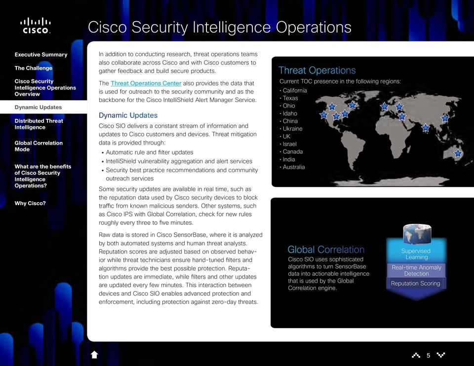 Cisco SIO delivers a constant stream of information and updates to Cisco customers and devices.