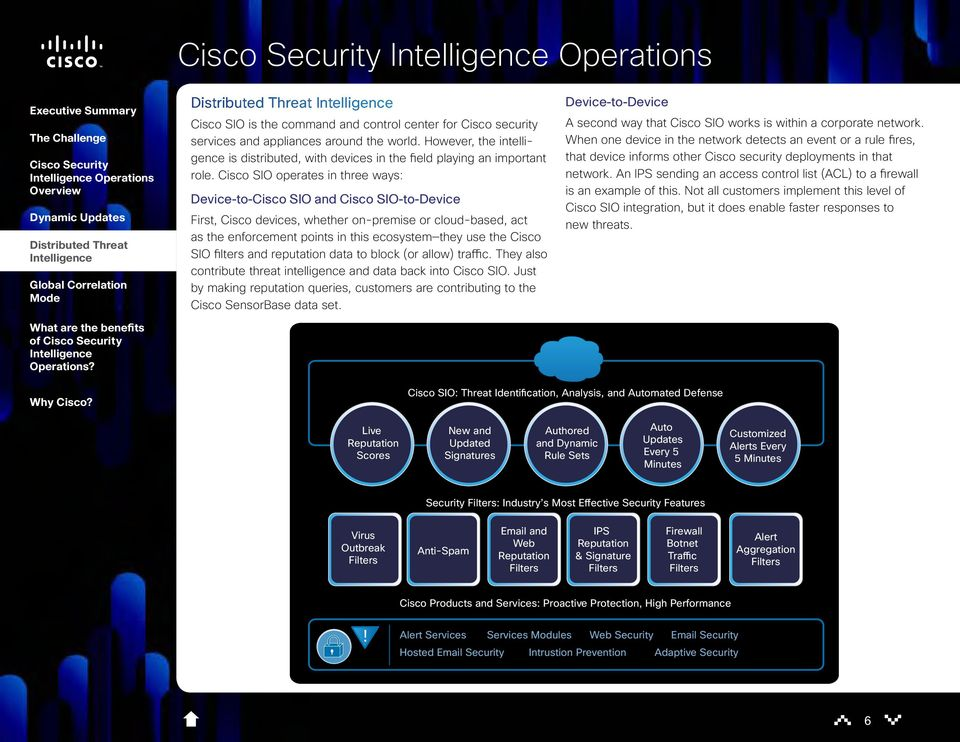 Cisco SIO operates in three ways: Device-to-Cisco SIO and Cisco SIO-to-Device First, Cisco devices, whether on-premise or cloud-based, act as the enforcement points in this ecosystem they use the