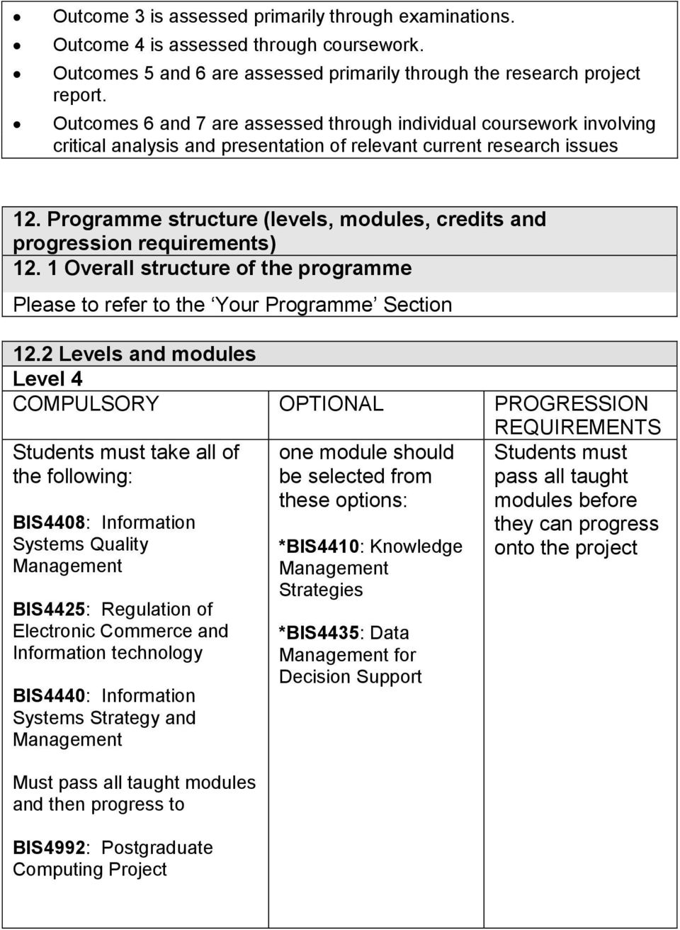 Programme structure (levels, modules, credits and progression requirements) 12. 1 Overall structure of the programme Please to refer to the Your Programme Section 12.