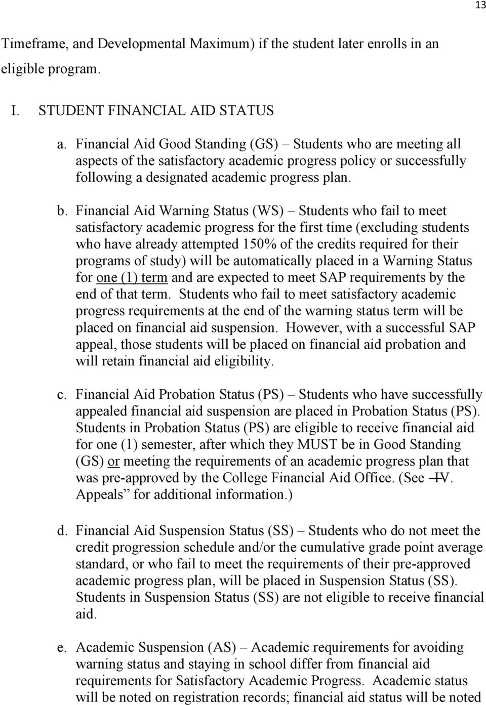 Financial Aid Warning Status (WS) Students who fail to meet satisfactory academic progress for the first time (excluding students who have already attempted 150% of the credits required for their