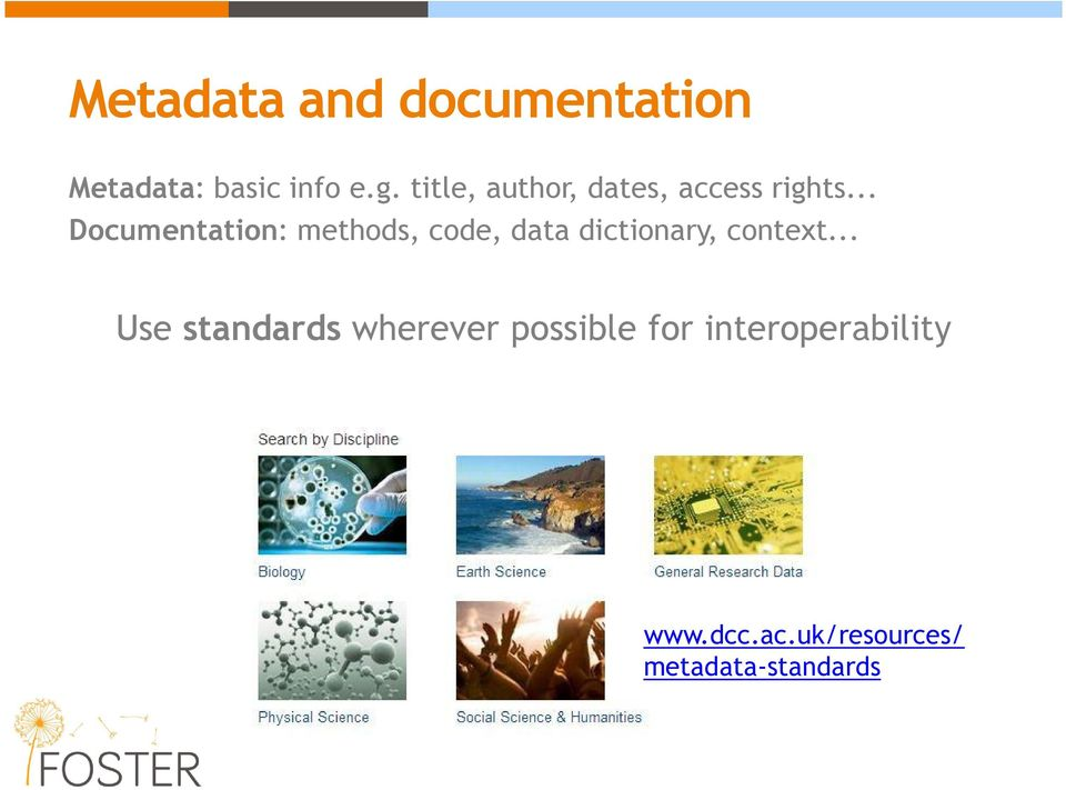 .. Documentation: methods, code, data dictionary, context.