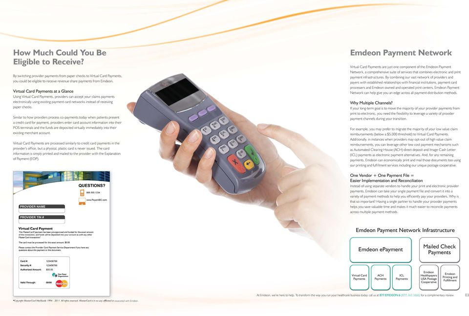 Similar to how providers process co-payments today when patients present a credit card for payment, providers enter card account information into their POS terminals and the funds are deposited