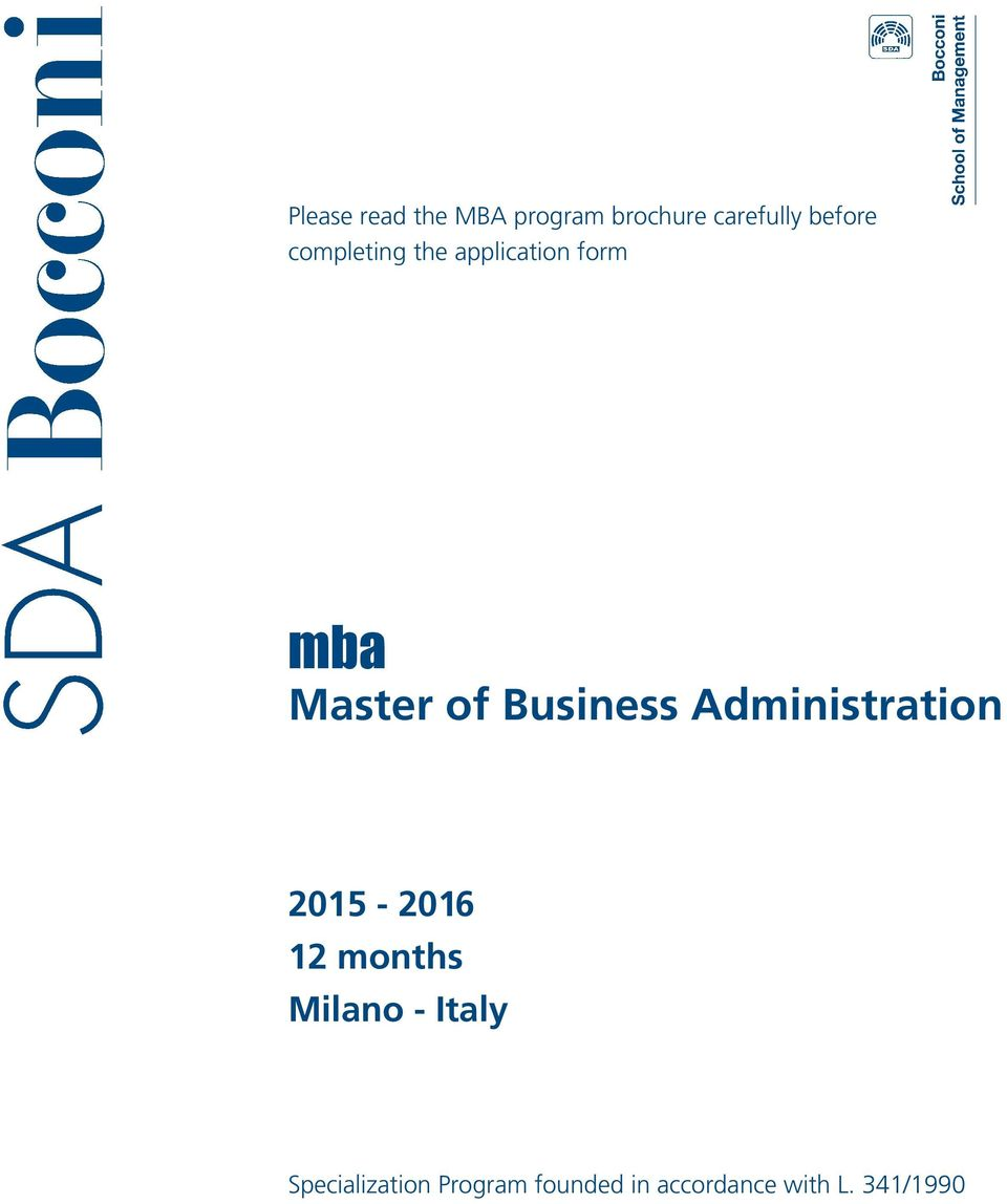Administration 2015-2016 12 months Milano - Italy