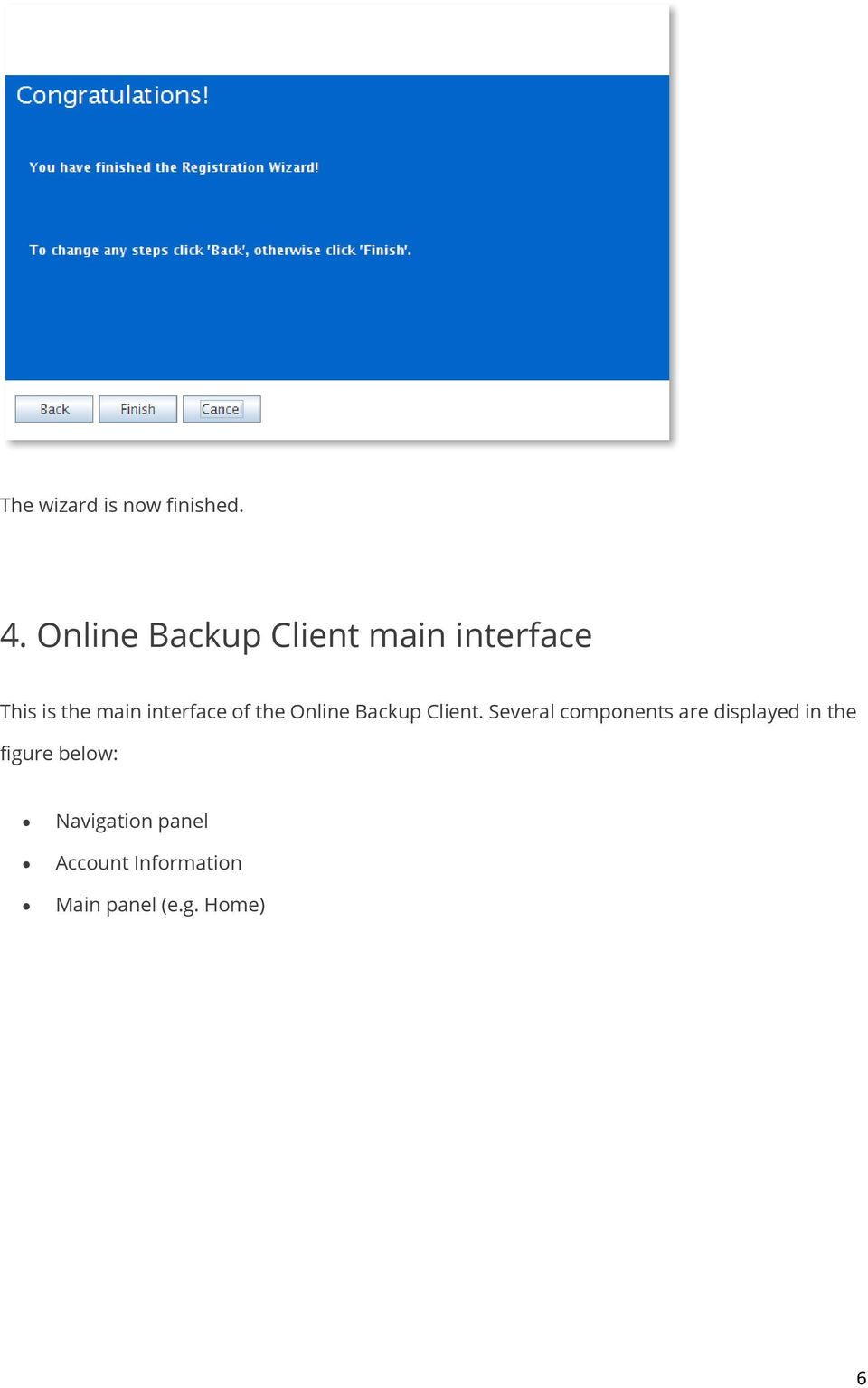 interface of the Online Backup Client.