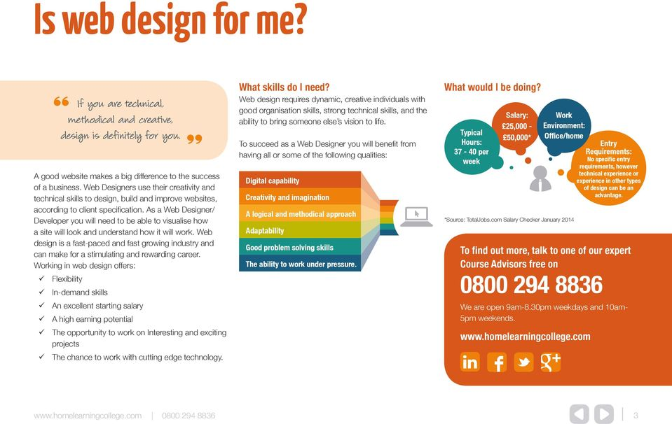 As a Web Designer/ Developer you will need to be able to visualise how a site will look and understand how it will work.
